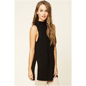 Forever 21 Black Ribbed Knit Sweater Tunic